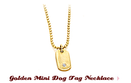 Golden Mini Dog Tag Necklace